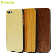 Promo LIONSTAR Wood Grain Qi Wireless Charger Receiver Case For iphone5 5S SE 6 6S plus Power Charging Transmitter Phone Back Cover