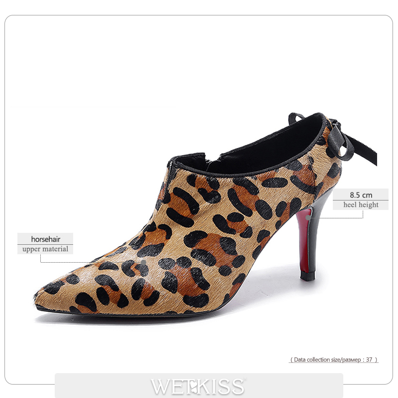 WETKISS Natural Leather Horsehair Pumps Women Sexy Leopard Bow Shoes Woman High Heels Footwear Female Pointed toe Zipper Pumps