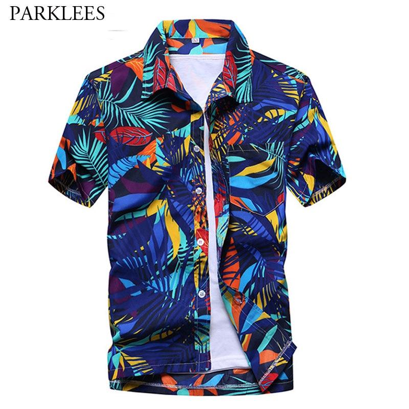 Summer Fashion Short Sleeve Men Hawaiin Shirt Brand Slim Fit Casual Beach Shirts Men Holiday Party Aloha Shirt Camisa Hawaiana