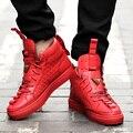Moda Brilhante Ouro Patrick Mohr Triângulo Dos Homens Plana Sapatos de Couro Genuíno Tendência Casual de Alta Top Sapatos de Skate Homens Zapatos Hombre