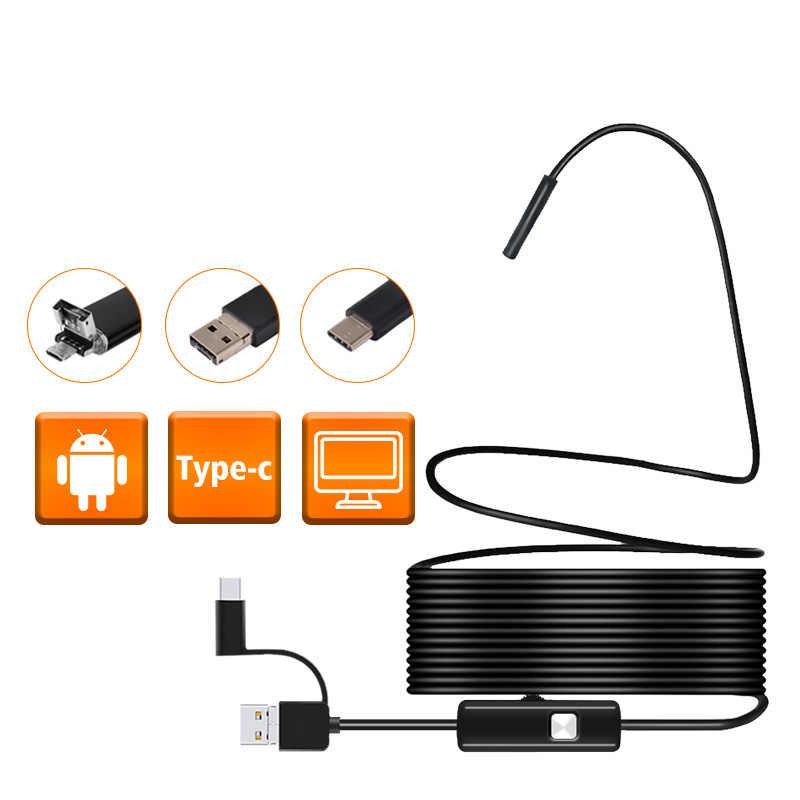 5.5mm เลนส์ Android USB Endoscope ลวดยืดหยุ่นไฟ led กล้องตรวจสอบกล้องกันน้ำ Borescope สำหรับ Android PC