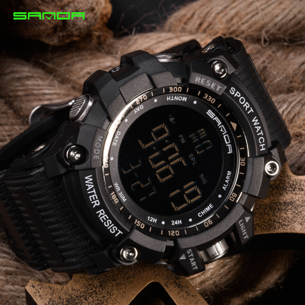 Men Climbing Sports Digital Wristwatches Big Dial Military Watches Alarm G Style Shock Resistant Waterproof Watch LED