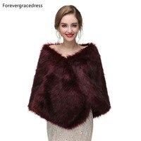 Forevergracedress 2019 Elegant Soft Autumn Winter Faux Fur Bride Wedding Wraps Bolero Jackets Bridal Coats Shawls Scarves PJ416