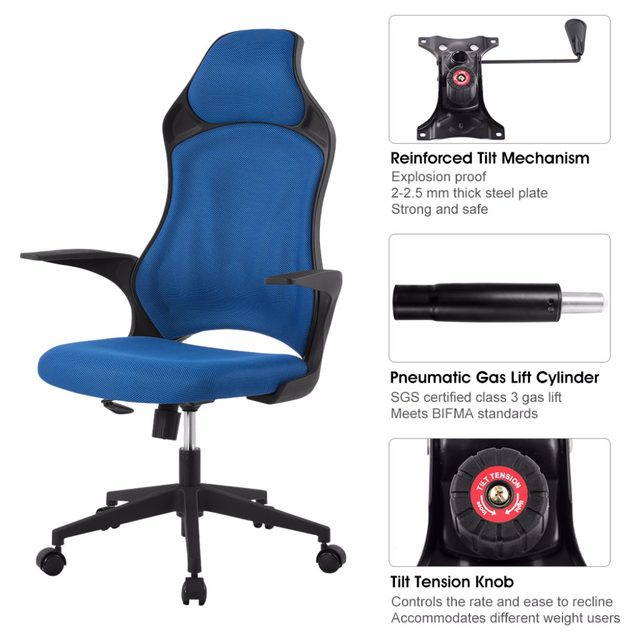 Ergonomic High Back Mesh Office Executive Gaming Chair 360 Degree Swivel  With Knee Tilt Blue Office Chair