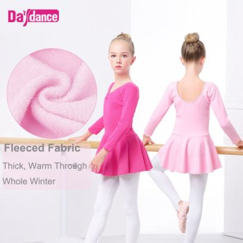 Wholesale Kids Thick Velvet Ballet Leotard Skirts Autumn Winter Ballet Clothing Girls Warm Dance Clothes Skirted Leotards