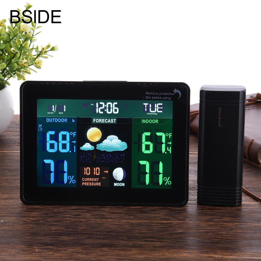 Digital LCD Wireless Weather Station Clock Alarm Electronic Indoor Outdoor Thermometer Hygrometer Calendar Moon Phase Display voice control backlight hygrometer thermometer alarm clock with lcd display