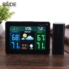 Digital LCD Wireless Weather Station Clock Alarm Electronic Indoor Outdoor Thermometer Hygrometer Calendar Moon Phase Display