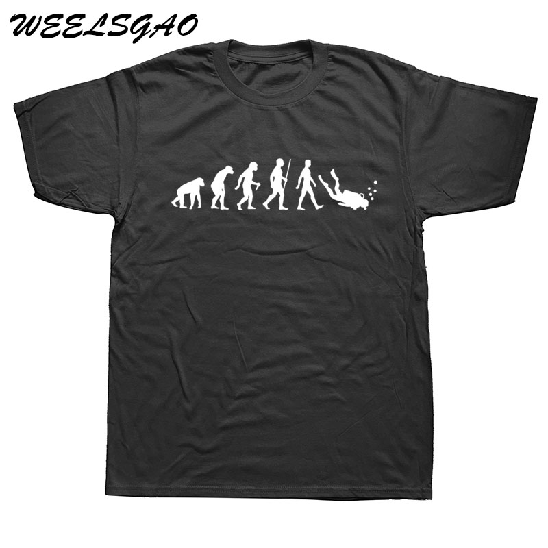 WEELSGAO Evolution Of Scuba Diver Dive Funny Black T-shirt Mens New Designs Summer Style Cotton T Shirt Top Tees