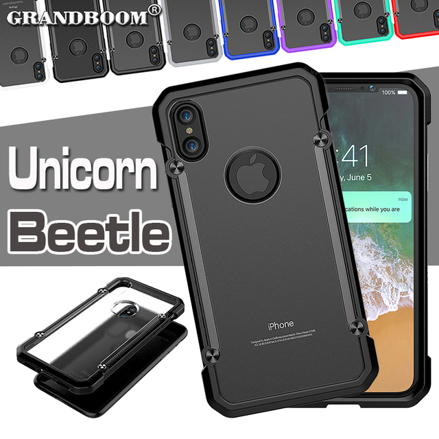 quality design 37dc1 5fed7 US $3.3  Unicorn Beetle Case Hybrid Soft TPU + Hard Clear PC Protective  Back Cover For iPhone X 8 7 6 6S Plus SE 5 5S Armor Phone Cases-in Fitted  ...