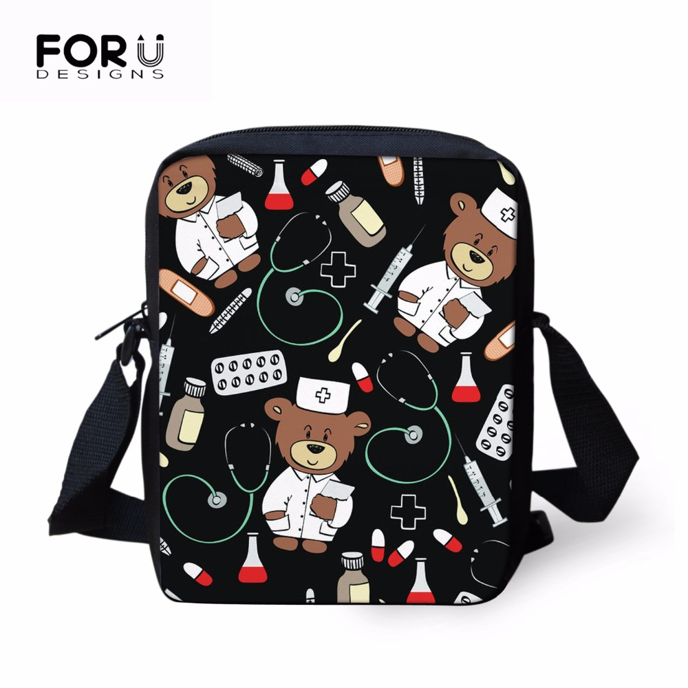 FORUDESIGNS Kids Toddler Schoolbag Girls Boy Bags Cartoon Nurse Doctor Children Back to School Crossbody Bags Preschool Mini Bag