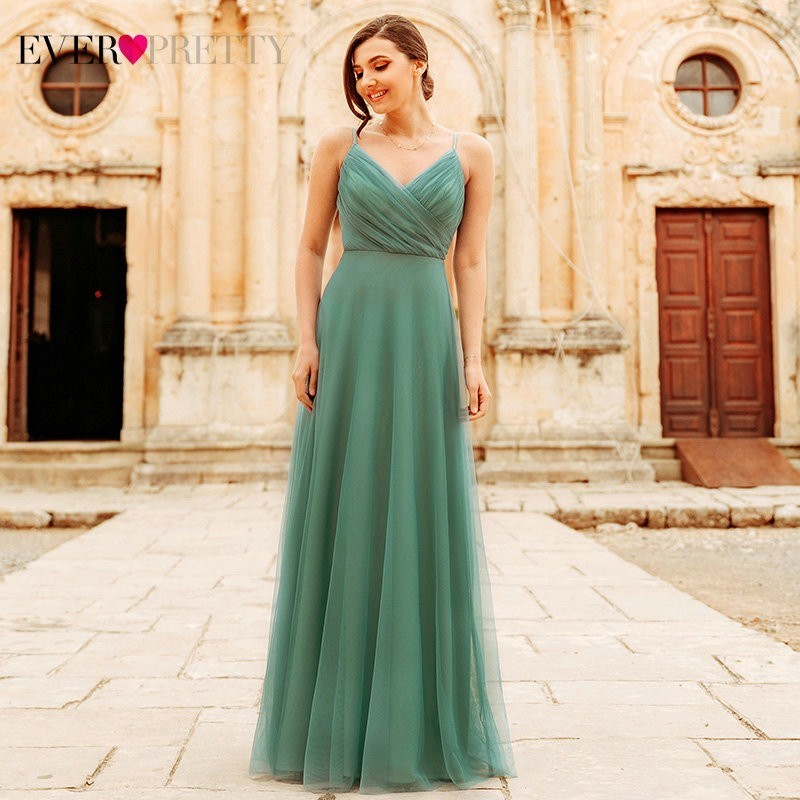 Blush Pink Bridesmaid Dresses Ever Pretty EP07303 Sweetheart A-line V-neck Sleeveless Wedding Party Dress Elegant For Women