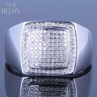 HELON sterling silver 925 Mens Round Diamond Engagemen Ring generous estate 0.45ct natural diamonds Party Fine Jewelry band Ring