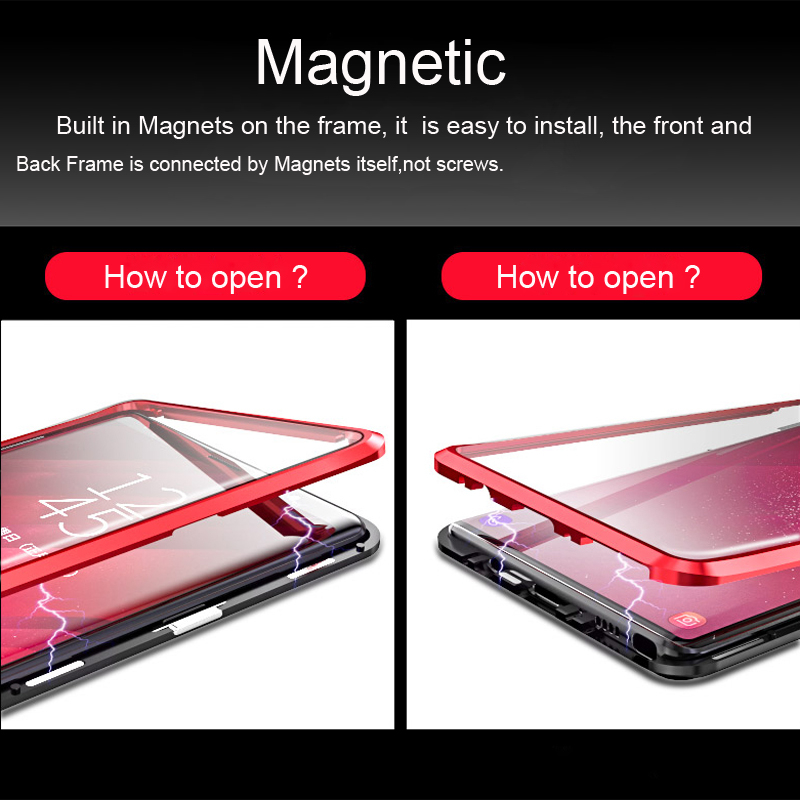 360 Full Magnetic Case For Samsung Galaxy S8 Plus S8Plus S9 Note 9 8 Note9 Note8 Metal Bumper Glass Cover For Samsung S8 Case On