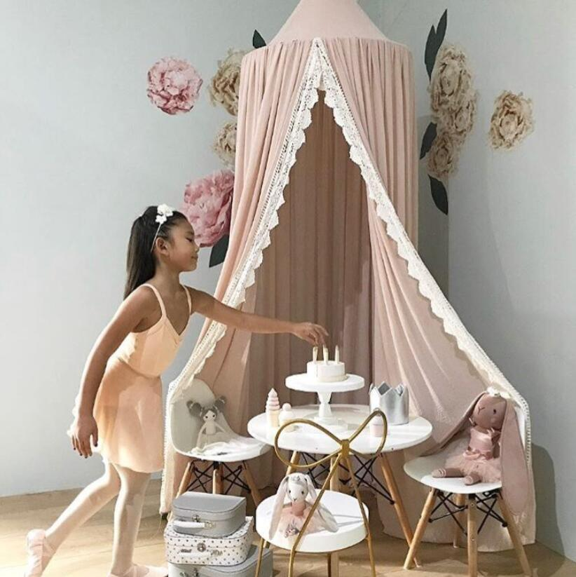 Nordic INS Cotton baby room decoration Lace Mosquito Net Kids bed curtain canopy Round Crib Netting tent props baldachin 240cm