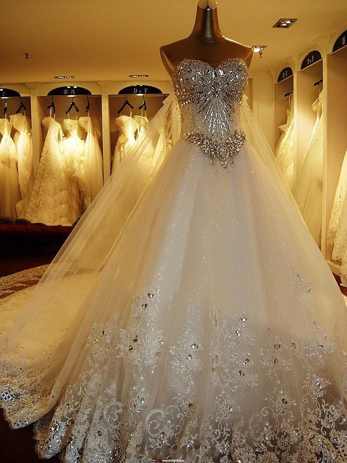 2017 Wedding Gowns Swarovski Crystals Luxury Bride Dresses Cathedral Free Veil For In From Weddings