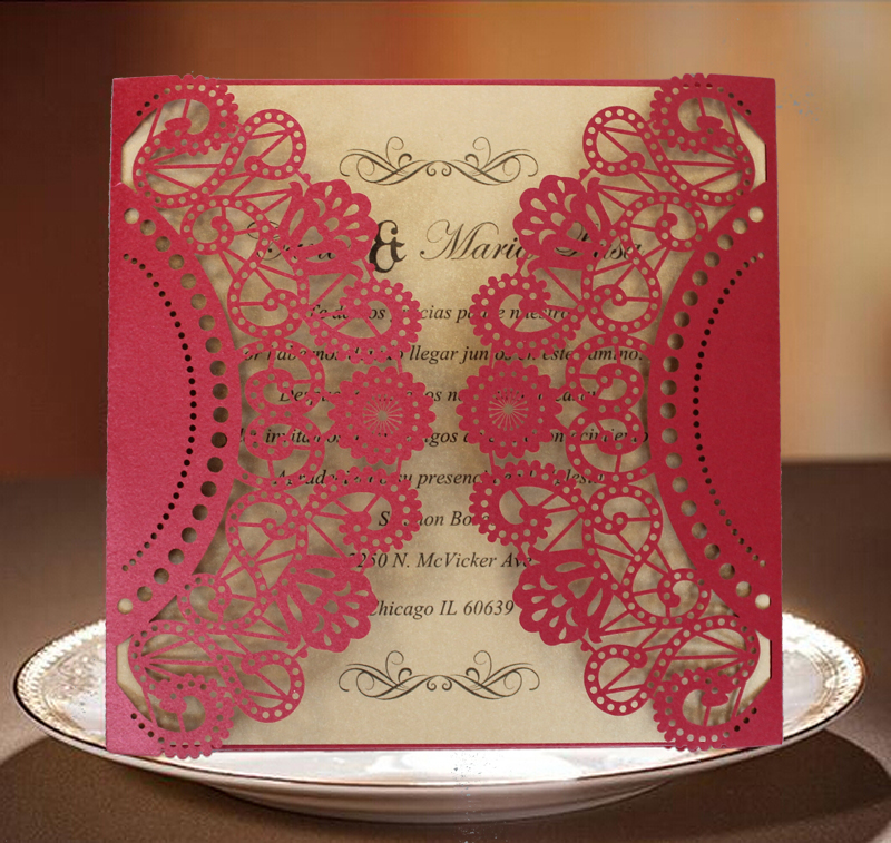 Red Wedding Invitation, Chinese Wedding Invitations, Lace Invitation Cards,  Red And Gold Wedding