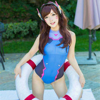 2017 New D VA Swimsuit Cosplay Girl Woman Clothing Dva Zentai Tight Swimsuit Lycra Elastic Digital