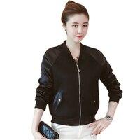 Slim Autumn Women Jacket 2017 Black Fashion Bomber Jacket Coat Long Sleeve Woman Coat Zipped Jacket For Girl
