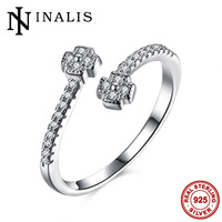 INALIS Minimalist Fashion Jewelry 925 Sterling Silver Resizable Open Ring For Women Luxury Cubic Zirconia Flower