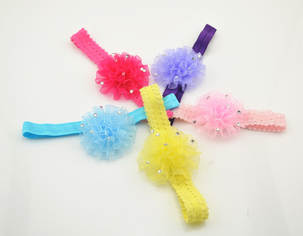 5Pcs lot Fashion Children Flower Hair Band Baby Cute Hair Hoop Boutique Rhinestone Head Band Girls
