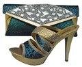Partido Bombea Los Zapatos elegantes Sandalias de Tacón Alto Zapatos de Boda Africano Y la Bolsa Establece Italiano de Zapatos A Juego Y Conjunto de Bolsas 1308-39