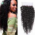 8A Mongolian Kinky Curly Lace Closure 4x4 Mongolian Virgin Human Hair Lace Closure Free Part Curly Lace Closures