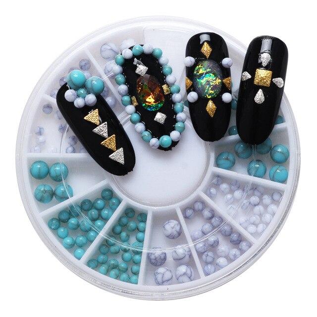 Perles turquoises mélangées 1 boîte (96 pièces) | Perles cousues, Cabochon plat, Scrapbook, décoration artisanat, accessoires dembellissement, bricolage