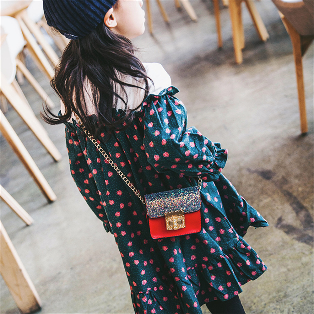 Maison Fabre bags Children Cute Paillette Handbag Shoulder Bag Mini Messenger Bag Drop shipping Solid for girls X0831#3015