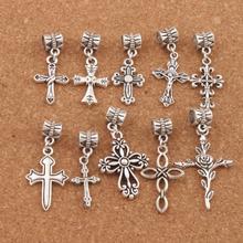 mix Flower Cross Big Hole Beads 20PCS Antique Silver Dangle Fit European Bracelet Jewelry DIY BM33