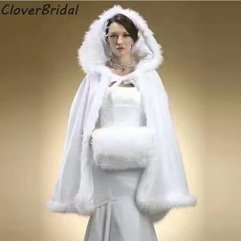 Hooded Bridal Cape Ivory Long Wedding Cloaks 2017 Faux Fur Winter Wedding Accressories Bridal Wraps Cloak