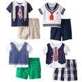 2016 verano nueva manga corta caballero Azul Marino muchachos determinados de la ropa ropa de bebé de la camiseta + short pant niños 2 unids ropa juego de los niños
