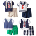 2017 summer new short-sleeved gentleman Navy clothing set boys clothing baby t shirt+short pant kids 2 pcs clothes children suit