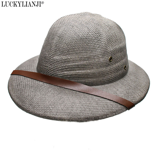 9bdc7ecb LUCKYLIANJI Novelty Women's Men's Hard Straw Helmet Pith Sun Hats For Army  Boater Bucket Hats Safari Jungle Miners Cap 56-59CM