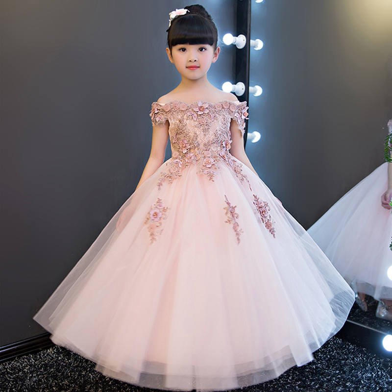 First Holy Communion Dresses Off the Shoulder Long Prom Dress Appliques Ball Gown Flower Girl Dresses for Wedding Birthday K06 charming off the shoulder long sleeves appliques mermaid wedding dress