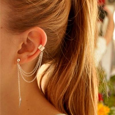 Women Stylish Punk Leaf Chain Tel Dangle Clip Ear Cuff Earrings Summer Style Gold Silver Wrap