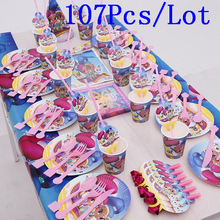 107Pcs Shimmer and Shine Theme Cup Plate Napkin Horn Blowout Cap Family Party Kid Birthday Party Decoration Supply 10 People use