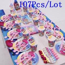 107Pcs di colori di Luccichio e Lustro A Tema Piastra Tazza Tovagliolo Corno Scoppio Cap Famiglia Del Partito Del Capretto Di Compleanno Decorazione Del Partito di Alimentazione 10 le persone usano