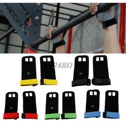 Synthetic Leather Hand Grip Crossfit Gymnastics Guard Palm Protectors Glove Pull Up Bar 1Pair S23Aug NO
