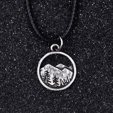 SanLan античный серебряный горный лес узор полый круглый стиль Подвески Подвеска, кожаный шнурок ожерелье альпинист клуб подарок ювелирные изделия