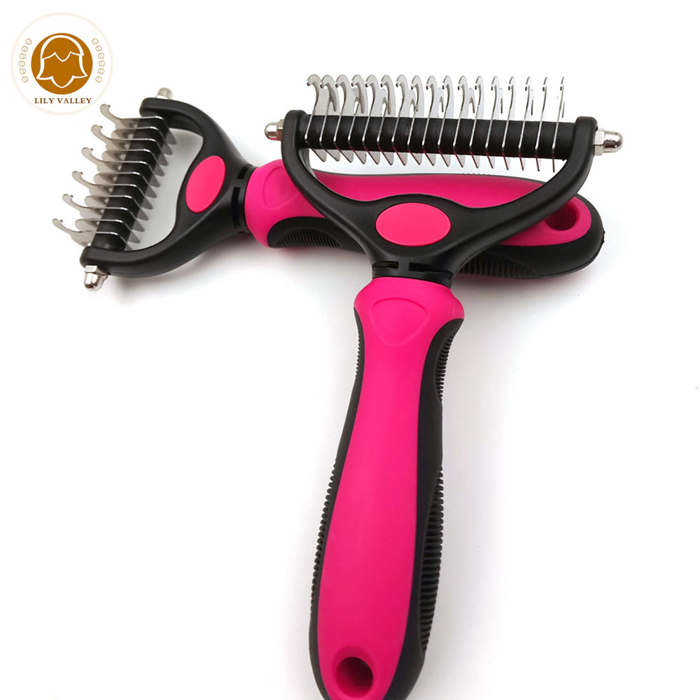 Double Side Pet Fur Koiran harja Dematting Matbreaker Cat -hoito Deshedding Trimmer Tool Dog Comb Pet Brush Rake