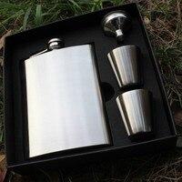 Stainless Steel Portable Vodka Wine Set 7OZ Flagon 2 Goblet 1 Filling Funnel Gift Box Packing