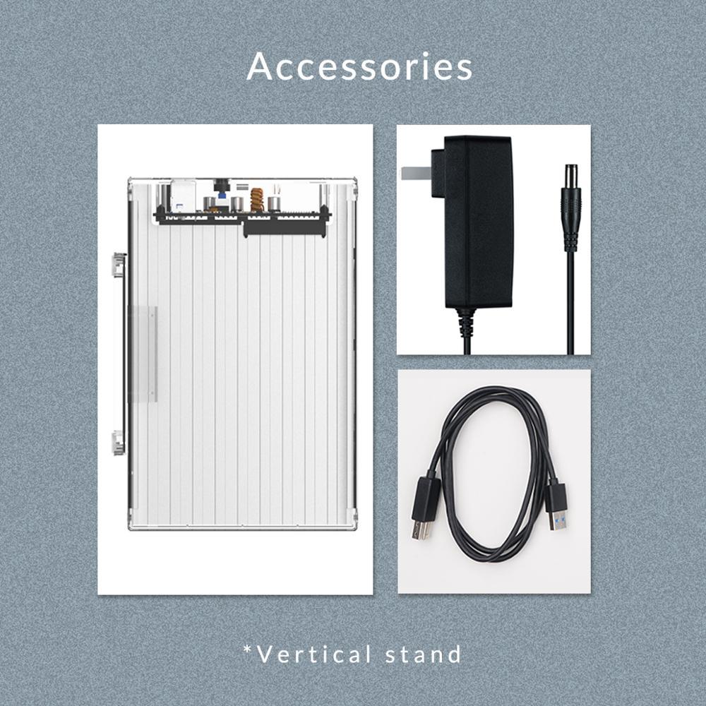 ORICO 3.5 pouces 2 baie boîtier de disque dur boîtier de disque externe Transparent SATA à USB3.0 type-b boîtier de disque dur avec adaptateur secteur 12V3A - 5