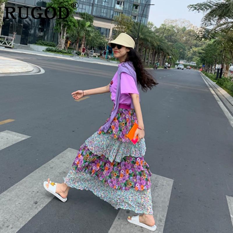 RUGOD 2019 New Arrival  Chic Skirt Cake Multilayer Summer Skirt Floral Loose Jupe Longue Femme Harajuku