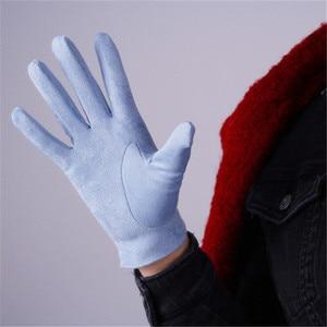 Image 2 - 21cm Suede Short Gloves Short Section Emulation Leather Brushed Suede Matte Light Blue Female Gloves Free Shipping WJP10 21