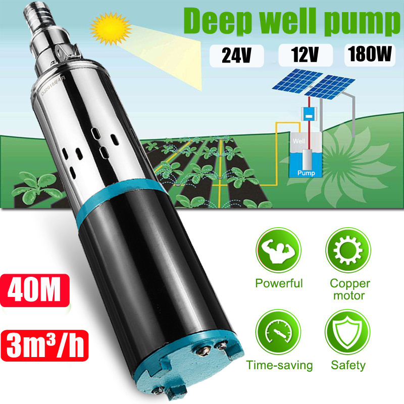 Solar Water Pump 12/24V 40m 180W 3000L/h Deep Well Pump DC Screw Submersible Pump Irrigation Garden Home Agricultural