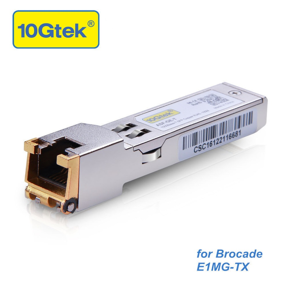 Brocade E1MG-TX Gigabit RJ45 Copper SFP Transceiver,1000Base-T 100-Meter Gigabit RJ-45 Copper SFP Transceiver ModuleBrocade E1MG-TX Gigabit RJ45 Copper SFP Transceiver,1000Base-T 100-Meter Gigabit RJ-45 Copper SFP Transceiver Module