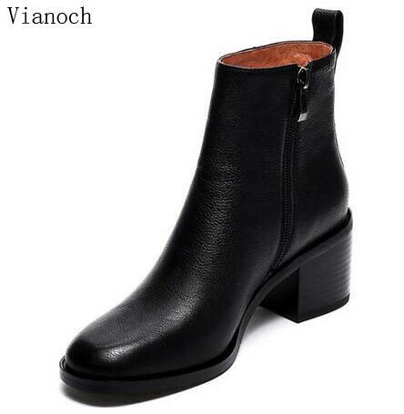 Mode Womens Stiefeletten Einfache Schuhe Plattform Pumpen Herbst Winter Fell High Heels Dame Schwarz Größe 40 aa0515