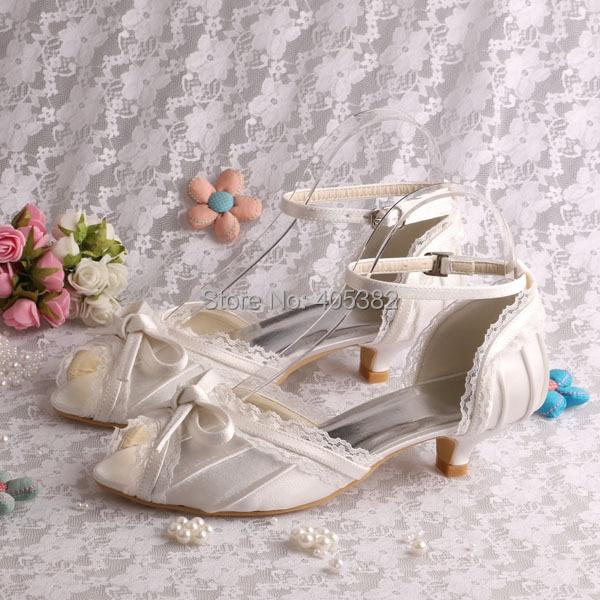 ФОТО Wedopus MW5497A Custom Handmade Cute Low Heel Peep Toe Wedding Shoes Sandals Cream Satin