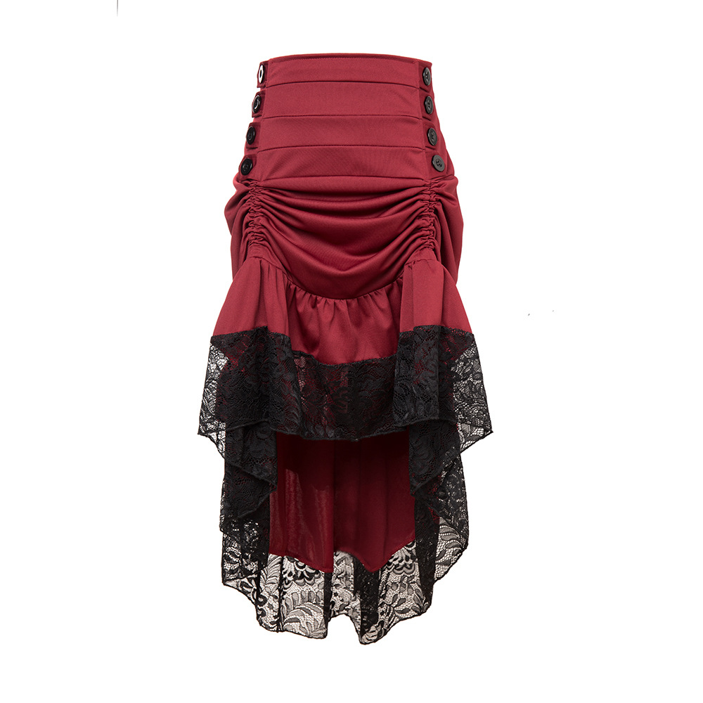 4XL Gothic Asymmetrical Skirt Vintage Burgundy Lace Ruffles Patchwork Button Spring Women Party Prom Retro Goth Casual Skirt
