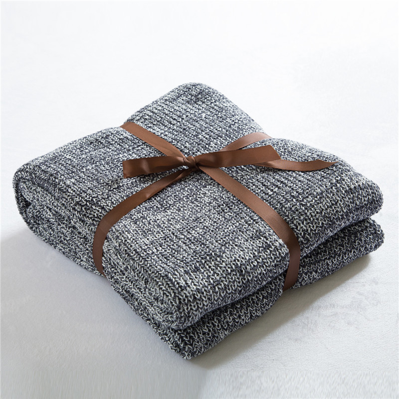 Cozzy New Cotton Cable Knitted Throw Sofa Couch Bed Blanket Cover Travel All-purpose Gradient Dark Gray 120x180cm / 180x200cm